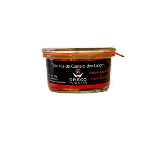 Foie gras micuit con pimiento del piquillo y anguila