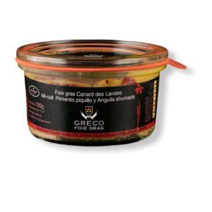 Foie gras mi-cuit con pimiento del piquillo y anguila
