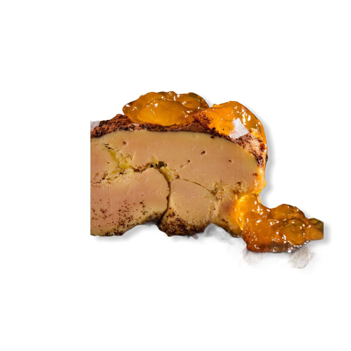 Foie gras mi-cuit con albaricoque y cacao